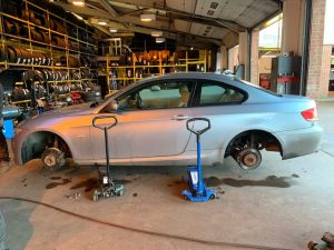 BMW 3 Series having new tyres fitted.