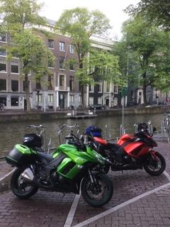 Kawasaki bikes pictured in Amsterdam.