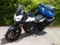 Vango Stelvio 200 tent packed up on Suzuki V-Strom Touring bike