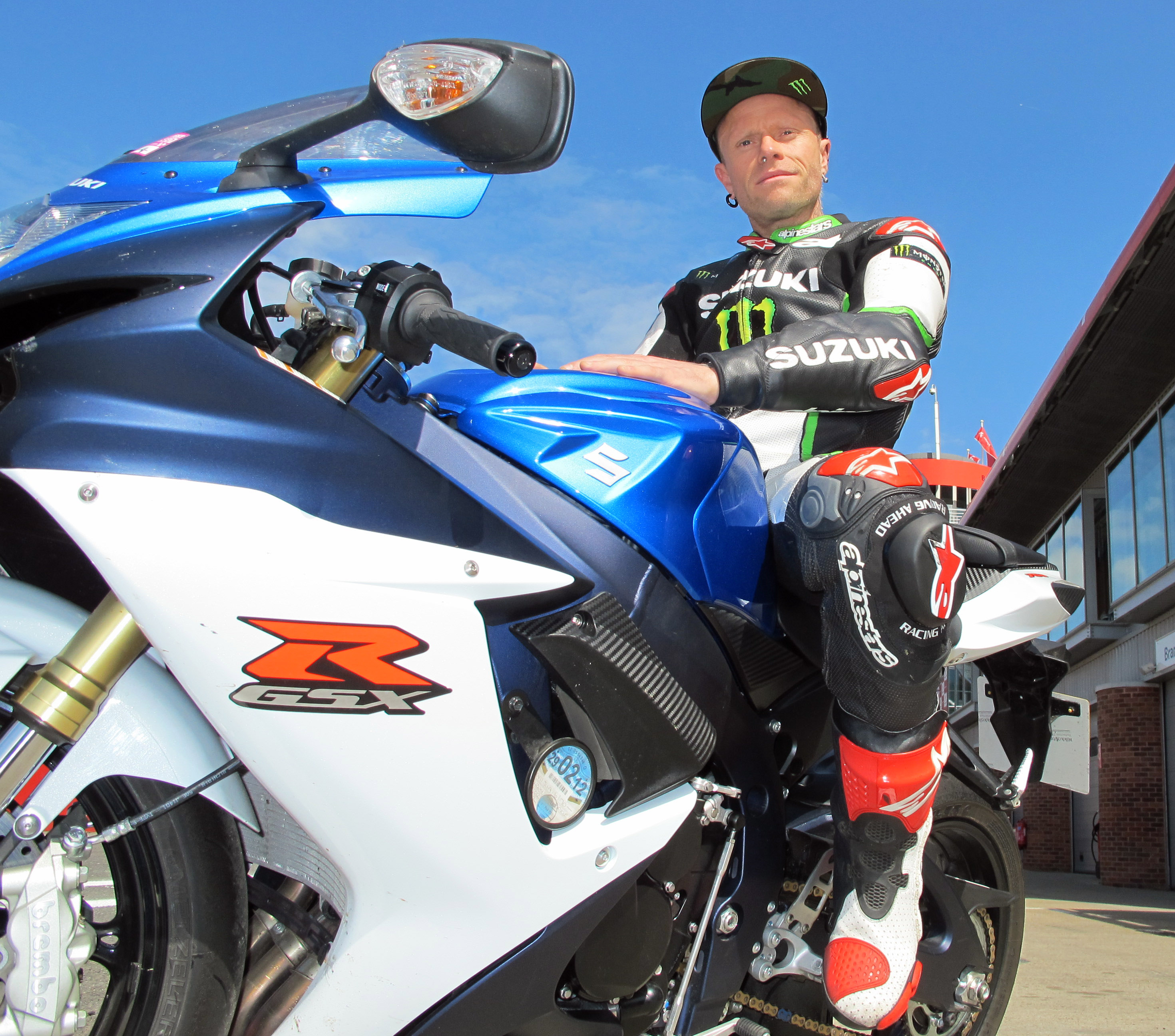 Prodigy's Keith Flint takes his GSX-R750 on track