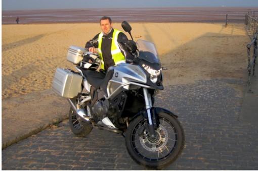 Honda Crosstourer 1200cc V4 road test, David Hooper with the bike on Cleethorpes Beach.