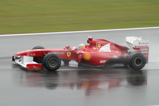 Fernando Alonso in his Ferrari F1 race car.