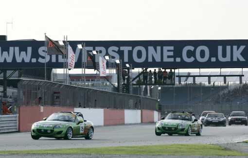 Mazda MX-5s racing at Silverstone
