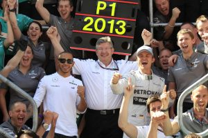 Mercedes celebrations at British GP